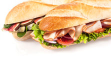 Tasty savory baguettes for a healthy lunch Royalty Free Stock Images