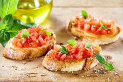 Tasty savory tomato Italian appetizers stock photos