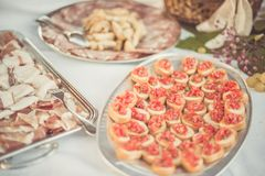 Tasty savory tomato Italian appetizers, or bruschetta, on slices of toasted baguette garnished with basil royalty free stock photo