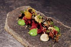 Tasty scandinavian dish with raw meet Stock Photo