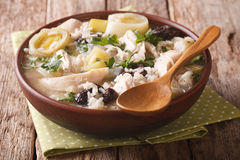 Tasty Scottish chicken soup with leeks and prunes close up in a Stock Photo