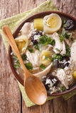 Tasty Scottish chicken soup with leeks and prunes close up in a Stock Image