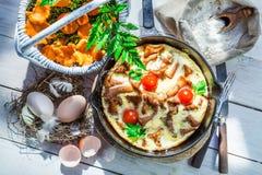 Tasty scrambled eggs with chanterelle mushroom Stock Photos