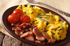 Tasty scrambled eggs and chives, bacon on a plate. horizontal Royalty Free Stock Photos