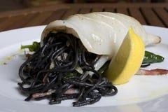 Tasty sea food with italian pasta Stock Images