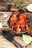 Boiled shellfish in pan Royalty Free Stock Photo