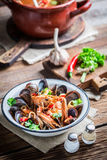 Tasty seafood soup with shrimps and mussels Royalty Free Stock Photo