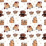 Tasty seamless pattern with cakes in vector stock illustration