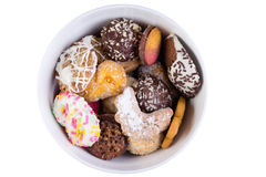 Tasty selection of crunchy cookies in a bowl Stock Images