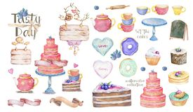 Tasty set of birthday party. Watercolor cakes and cups, colorful cartoon illustration on white background. Greeting card, invite