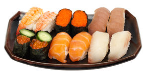 Tasty set of sushi. 12 pieces in sets of two of sushi/sashimi Royalty Free Stock Photo