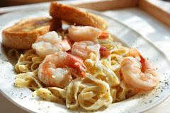 Tasty Shrimp Fettuccine Alfred Stock Photos