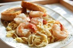 Tasty Shrimp Fettuccine Alfred stock photos