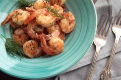 Tasty shrimps with dill Royalty Free Stock Image