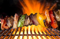 Tasty skewers on the grill. Stock Photography