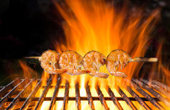 Tasty skewers on the grill. Royalty Free Stock Images