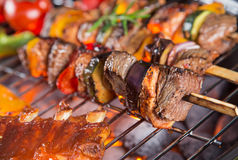 Tasty skewers on the grill. Royalty Free Stock Photography