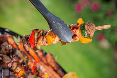 Tasty skewers on the grill. Stock Image