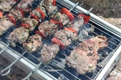 Tasty skewers and steack on grill with vegetables. Tasty skewers on the grill with vegetables on grill Stock Images