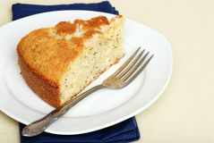 Tasty slice of lemon poppy seed cake Stock Photo