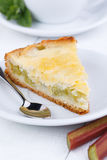 Tasty slice of rhubarb pie on white wooden table. Stock Photos