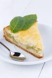Tasty slice of rhubarb pie on white wooden table. Slice of rhubarb pie on wooden table royalty free stock image