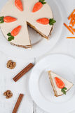Tasty sliced easter carrot sponge cake with cream Royalty Free Stock Images
