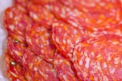 Tasty Sliced Genoa Salami Close up Royalty Free Stock Images