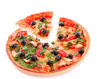 Tasty sliced Pizza with olives Royalty Free Stock Image