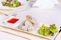 Tasty Sliced Spring Rolls with Lettuce and Sauce Royalty Free Stock Photo
