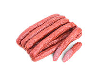 Tasty smoked beef sausages. Stock Photo