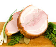 Tasty smoked meat with spaces Stock Images