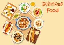 Tasty snack dishes icon for lunch menu design Stock Photography