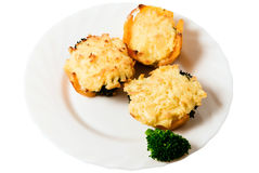 Tasty snacks. Juicy dish from three delicious appetizers to the table and broccoli on a white plate stock photography