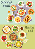 Tasty snacks icon set for menu or cookbook design. Tasty snacks icon set of noodles with mushroom and beef, fish vegetable and meat stews, sausages with cabbage Royalty Free Stock Photography