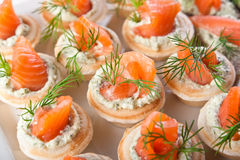Tasty snacks with salmon and cottage filling Stock Image