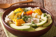Tasty soup ajiaco with chicken and vegetables close up.  Royalty Free Stock Photos