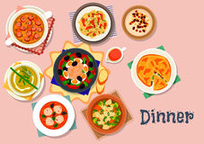 Tasty soup and salad icon for lunch menu design Stock Image