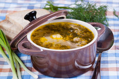 Tasty soup in saucepan, close up Stock Photos