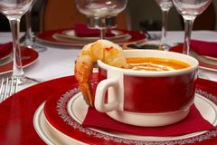 Tasty soup on a table at restaurant.  royalty free stock photography