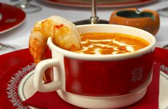 Tasty soup on a table at restaurant.  royalty free stock photos