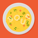 Tasty soup in white bowl. Vector illustration Stock Images