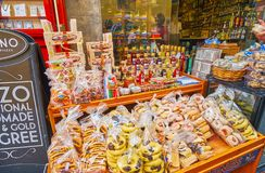Tasty souvenirs from Gozo, Victoria, Malta. VICTORIA, MALTA - JUNE 15, 2018: The wide range of tasty souvenirs from Gozo Island - cookies, jam, local gbejna stock images