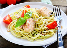 Tasty Spaghetti With Chunks Of Fish Royalty Free Stock Photo