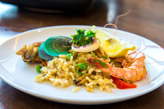 Tasty Spanish paella with seafood and chicken breast Royalty Free Stock Image