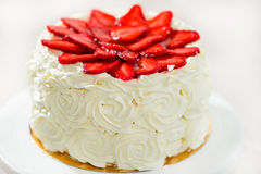 Tasty Spring cake tart with fresh strawberry and jam. Tasty cake tart with fresh strawberry and jam stock photo