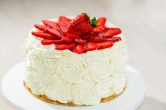 Tasty Spring cake tart with fresh strawberry and jam. Tasty Spring cake tart with fresh strawberry stock images