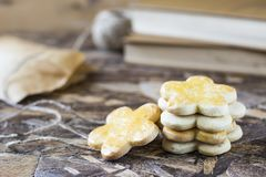Tasty spring cookies in form of flower for women`s day, mother`s day and grandmother`s day. Tasty spring cookies in form of flower for women`s day, mother`s day Stock Photos