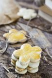 Tasty spring cookies in form of flower for women`s day, mother`s day and grandmother`s day. Tasty spring cookies in form of flower for women`s day, mother`s day Stock Image