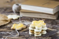Tasty spring cookies in form of flower for women`s day, mother`s day and grandmother`s day. Tasty spring cookies in form of flower for women`s day, mother`s day Royalty Free Stock Photo